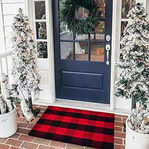 "EARTHALL Buffalo Plaid Rug Red and Black Rug 2'x3', Cotton Hand-Woven Buffalo Check Door Mat, Washable Plaid Outdoor Rug Entryway/Front Porch/Laundry Room/Bedroom (23.6""x35.4"")"