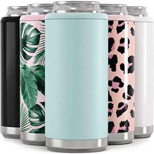 Maars Skinny Can Cooler for Slim Beer & Hard Seltzer | Stainless Steel 12oz Sleeve, Double Wall Vacuum Insulated Drink Holder - Matte Seaglass
