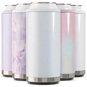 Maars Skinny Can Cooler for Slim Beer & Hard Seltzer | Stainless Steel 12oz Sleeve, Double Wall Vacuum Insulated Drink Holder - Glitter Iceberg
