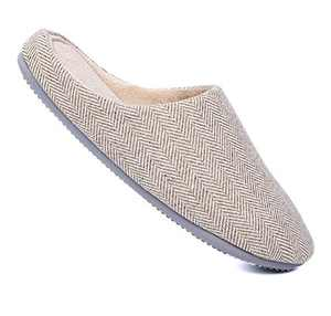 Unisex's Classic Slip on Slippers for Womens and Mens Beige/Gray