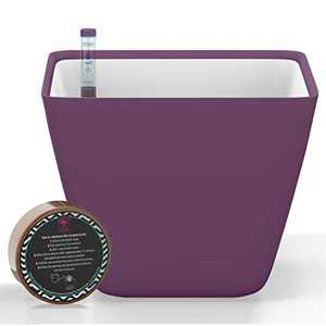 Gardenix Decor 5'' Self Watering pots for Indoor Plants - Flower Pot with Water Level Indicator for Plants, Grow Tracking Tool - Self Watering Planter Plant Pot - Coco Coir - Purple
