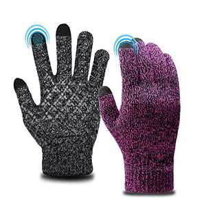 2 Pack Mens Womens Gloves Touch Screen Gloves Anti-Slip Silicone Gel Winter Knit Warm Soft Lining Elastic Cuff Unisex