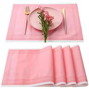 Disposable Placemats, Morgiana 25 Pieces Airlaid Paper Placemat Line Feel Dining Table Mats Heat Resistant Wipeable Degradable and Eco-Friendly Placemats for Dining Table(Pink)