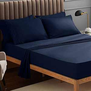 VEEYOO Full Bed Sheet Set 6 PCS - Navy Fitted Sheets Set Deep Pocket, Luxury 1800 Brushed Microfiber Bed Set Extra Soft, Wrinkle, Fade, Stain Resistant, Breathable, Hypoallergenic - 6 PCS, Navy