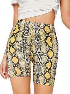 WDIRARA Women's Slim Fit Elastic Waist Leopard Print Sporty Short Legging Yellow M
