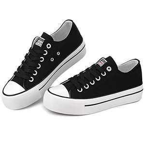 Womens Platform Low Top Sneaker Lace Up Classic Casual Shoes Fashion Canvas Comfortable for Walking Black