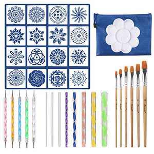 37PCS Mandala Dotting Tools Set, Pen Dotting Tools Brushes Mandala Stencil Ball Stylus Paint Tray for Rocks Painting, Nail Dotting, Drawing and Drafting Art Supplies. …
