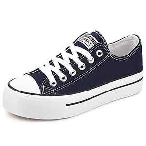 JENN ARDOR Women's Fashion Canvas Shoes Casual Platform Low Top Sneakers Lace Up Walking Flats for Women Dark Blue 7.5