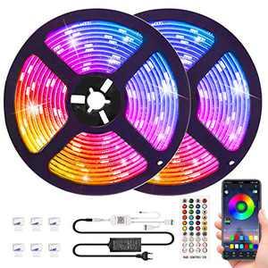 RGB LED Strip Lights Music sync APP Control,Waterproof Flexible RGB LED Strip Lights 32.8ft Color Changing Rope Lights LED Tape Lights Neon Mood Lights Room Bedroom