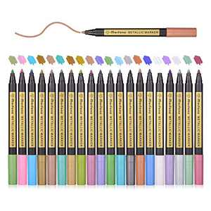 Metallic Markers, Morfone 20 Color Paint Marker Pens for Card Making, Rock Painting, Coloring, Scrapbooking, Ceramic, Glass, Wood, Metal, School Project, Art, Craft ( Medium tip 2mm )
