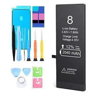Battery for iPhone 8,2040mAh High Capacity New 0 Cycle Replacement Battery,for A1863,A1905,A1906,with Complete Professional Replacement Tool Kits