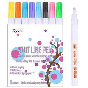 Dyvicl Double Line Outline Pens, 8 Colors Self-Outline Metallic Markers Glitter Writing Drawing Doodle Dazzle Pens for Christmas Card Writing, Birthday Greeting, Scrapbooking, DIY Art Crafts