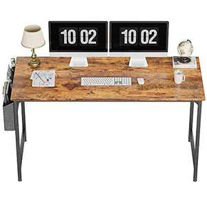 """CubiCubi Study Computer Desk 55"""" Home Office Writing Small Desk, Modern Simple Style PC Table, Black Metal Frame, Rustic Brown"""
