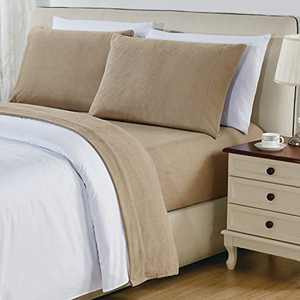 """softan Polar Fleece Bed Sheet Set, Super Soft Plush Microfiber 4 Pcs, Easy Care and Breathable Bed Sheets with 15"""" Deep Pocket for All Seasons, Taupe, Queen"""