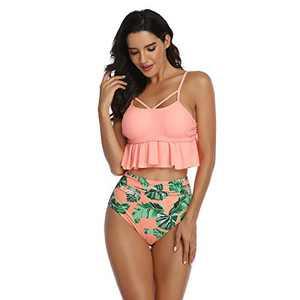 Mommy and Me Matching Swimsuit, Family Bikini Sets Ruffle Swimwear Bathing Suit Beachwear for Women Girls (Orange, Baby 4-5T)