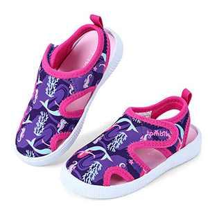 tombik Toddler Sandals Girls Aqua Water Shoes for Beach Pool Swim Walking Purple/Fushia/Mermaid 10 US Toddler