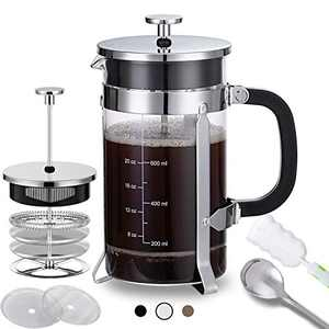 French Press Coffee Maker (34 oz) with 4 Filters - 304 Durable Stainless Steel, Heat Resistant Borosilicate Glass Coffee Press, BPA Free, Silver