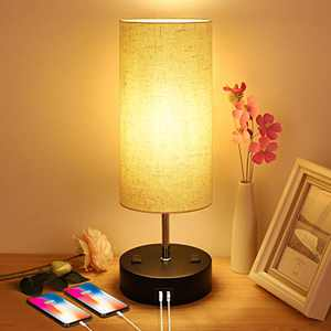 Bedside Lamp Bedroom Lamp with 2 USB Ports 2 AC Outlets Touch Control Table Lamp for Bedroom 3 Ways Dimmable Nightstand Lamp Fabric Shade Beside Lamps for Living Room, Dorm, Office