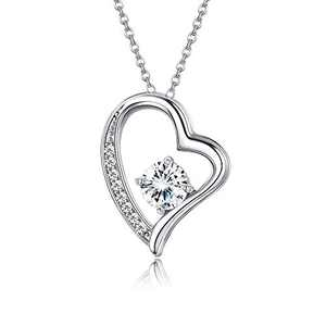 Sllaiss 925 Sterling Silver Heart Necklace for Women AAAAA Cubic Zirconia Love Heart Necklace Boxed Valentine's Gift