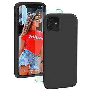PROBIEN Liquid Silicone iPhone 11 Case with [Tempered Screen Protector] Shockproof Phone Case, Gel Rubber Full Body Drop Protection Cover for iPhone 11 6.1 inch-Black