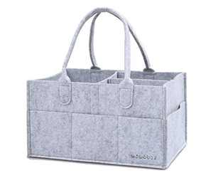 wawabox Diaper Caddy Organizer, Baby Gifts Diaper Bag, Nursery Storage Bin with Removable Divider, Storage Caddy for Newborn Kids, Baby Felt Nappy Caddy Tote(Gray)