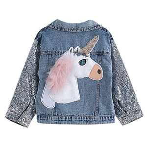 Unicorn Jean Jacket for Girls Kids & Toddler with Sparkly Sleeve, Girls' Spring Outfit Denim Jackets Outerwear