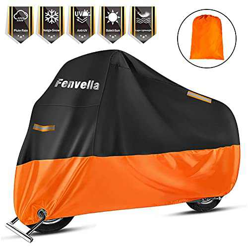 Fenvella Motorcycle Cover Waterproof Outdoor 210D Oxford Motor Bike Scooter Rain Cover All Season Windproof Dustproof UV Resistant with 1 Carry Bag XXL