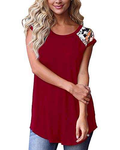 NSQTBA Short Sleeve Shirts for Women Floral Spring Tops Cotton Tunics XL