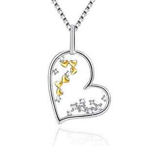 VANLAMS 925 Sterling Silver Infinity Wish Love Heart Cubic Zirconia Necklace for Women Girl Gifts (Silver Gold)