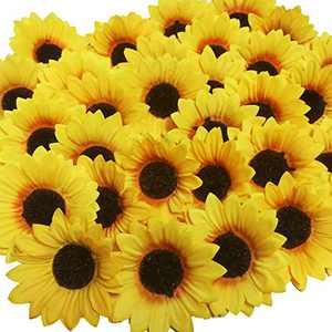"""Beferr 30pcs Artificial Fabric Sunflower Heads 4.1"""" Silk Yellow Sunflower for Home Garden Craft DIY Art Wedding Party Decor"""