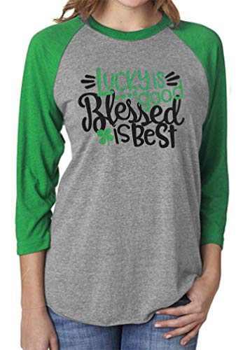 Chulianyouhuo Shamrock Heart St Patricks Day Shirt Women Raglan 3/4 Sleeve O-Neck Baseball Splicing Tee Tops (Green 1, L)