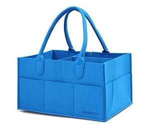 wawabox Diaper Caddy Organizer, Baby Gifts Diaper Bag, Nursery Storage Bin with Removable Divider, Storage Caddy for Newborn Kids, Baby Felt Nappy Caddy Tote(Blue)