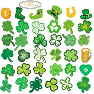 Biubee 440pcs St. Patrick's Day Shamrock Stickers- Green Clover Theme Shamrock Cutouts Green Shamrock Decals for Party Supplies Festival Decoration (40 Sheet)
