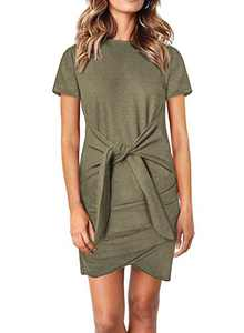 Dokotoo Womens Fashion Casual Solid Crewneck Short Sleeve Tie Waist Knot Front Pencil Mini Dresses Green M