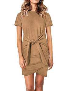 Dokotoo Womens Ladies Casual Solid Crewneck Short Sleeve Tie Waist Knot Front Bodycon Mini Dresses Party Khaki XL