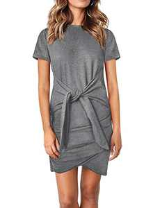 Dokotoo Womens Casual Solid Crewneck Short Sleeve Tie Waist Knot Front Bodycon Tunic Dresses Elegant Gray L