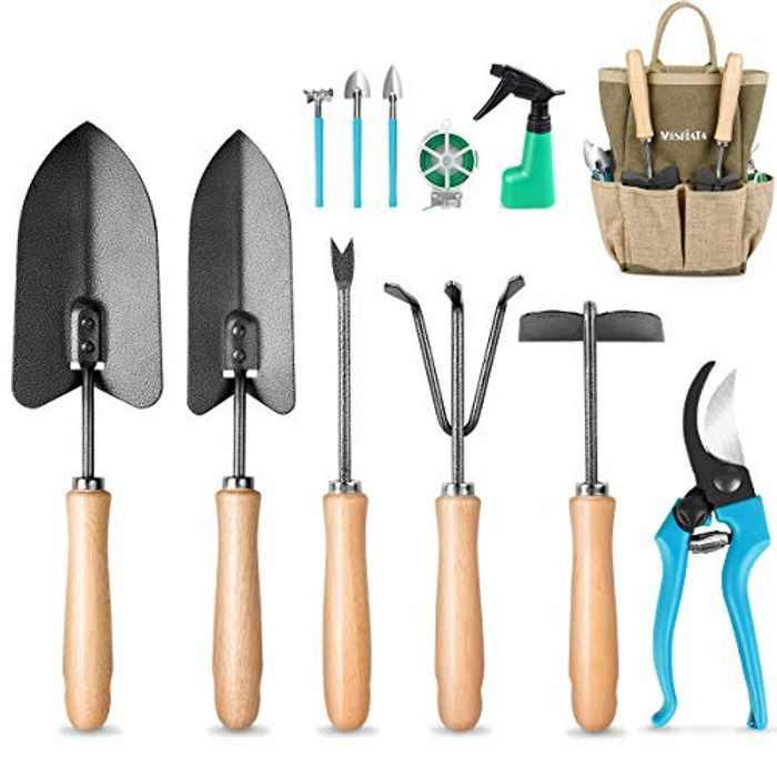 MOSFiATA Garden Tools Set 12 pcs Hand Kit Gardening Tools Set made of High-Carbon Steel with Shovels, Scissors,Sprayer,Rake, Pruning Shear,Weeder Best Gardening Gifts for Gardener