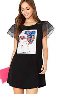 DIDK Women's Layered Mesh Short Sleeve Figure Graphic Dress Black Large