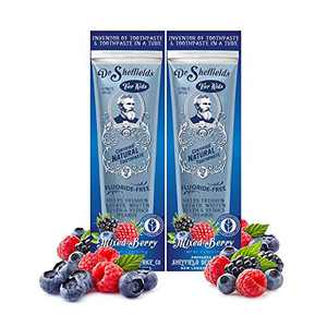 Dr. Sheffield's Certified Natural Toothpaste (Mixed Berry) - Great Tasting, Fluoride Free Toothpaste/Freshen Your Breath, Whiten Your Teeth, Reduce Plaque (2-Pack)