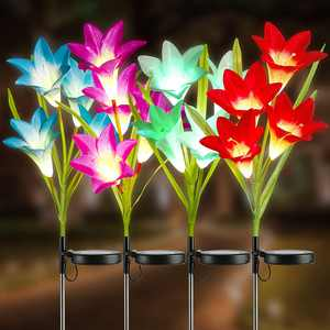 Joomer Solar Flower Lights, 4 Pack Solar Lily Flower Lights Multi-Color Changing Landscape Lighting Outdoor Solar Ground Lights Path Lights for Garden, Patio, Yard, Walkway