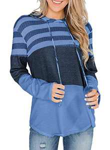 GULE GULE Women Long Sleeve Tops Pullover Hooded Striped Hoodie Sweatshirts with Drawstring Light Blue L