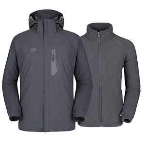 Mens 3 in 1 Winter Jacket Waterproof Ski Jacket Snow Coat Windproof Hooded with Detachable Liner (Grey, XXL)