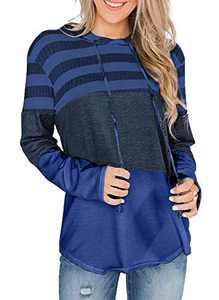 GULE GULE Women Long Sleeve Pullover Color Block Striped Hoodie Hemline Sweatshirts with Drawstring Tops Blue S