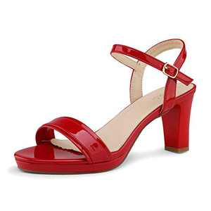 DREAM PAIRS Women's Red Pu Open Toe Chunky High Heels Dress Pump Heel Sandals Size 7 B(M) US Ria
