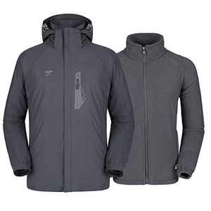 Mens 3 in 1 Winter Jacket Waterproof Ski Jacket Snow Coat Windproof Hooded with Detachable Liner (Grey, L)