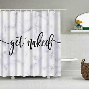 Inshere Polyester Shower Curtain Funny Shower Curtains for Bathroom Get Naked Waterproof Decorative Bathroom Shower Curtain with Rustproof Grommets and Plastic Hooks 70.8 X 70.8 inches