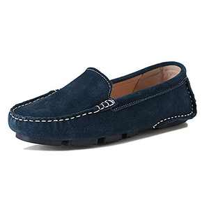 LUOBANIU Women's Loafers Driving Shoes Suede Casual Flat Boat Shoes (Blue 38)