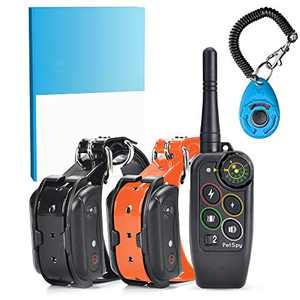 PetSpy Complete Dog Training Bundle, M686B Dog Shock Collar for 2 Dogs, Dog Training Guide, Training Clicker