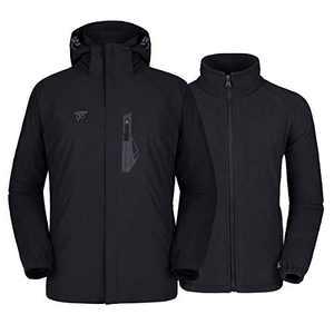 Mens 3 in 1 Winter Jacket Waterproof Ski Jacket Snow Coat Windproof Hooded with Detachable Liner (Black1, S)