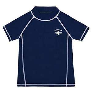 Cadocado Boy's Surfing Swimsuit Rash Guard Athletic Swimwear Short Sleeves Swim Sunsuit Top,Blue,10Y